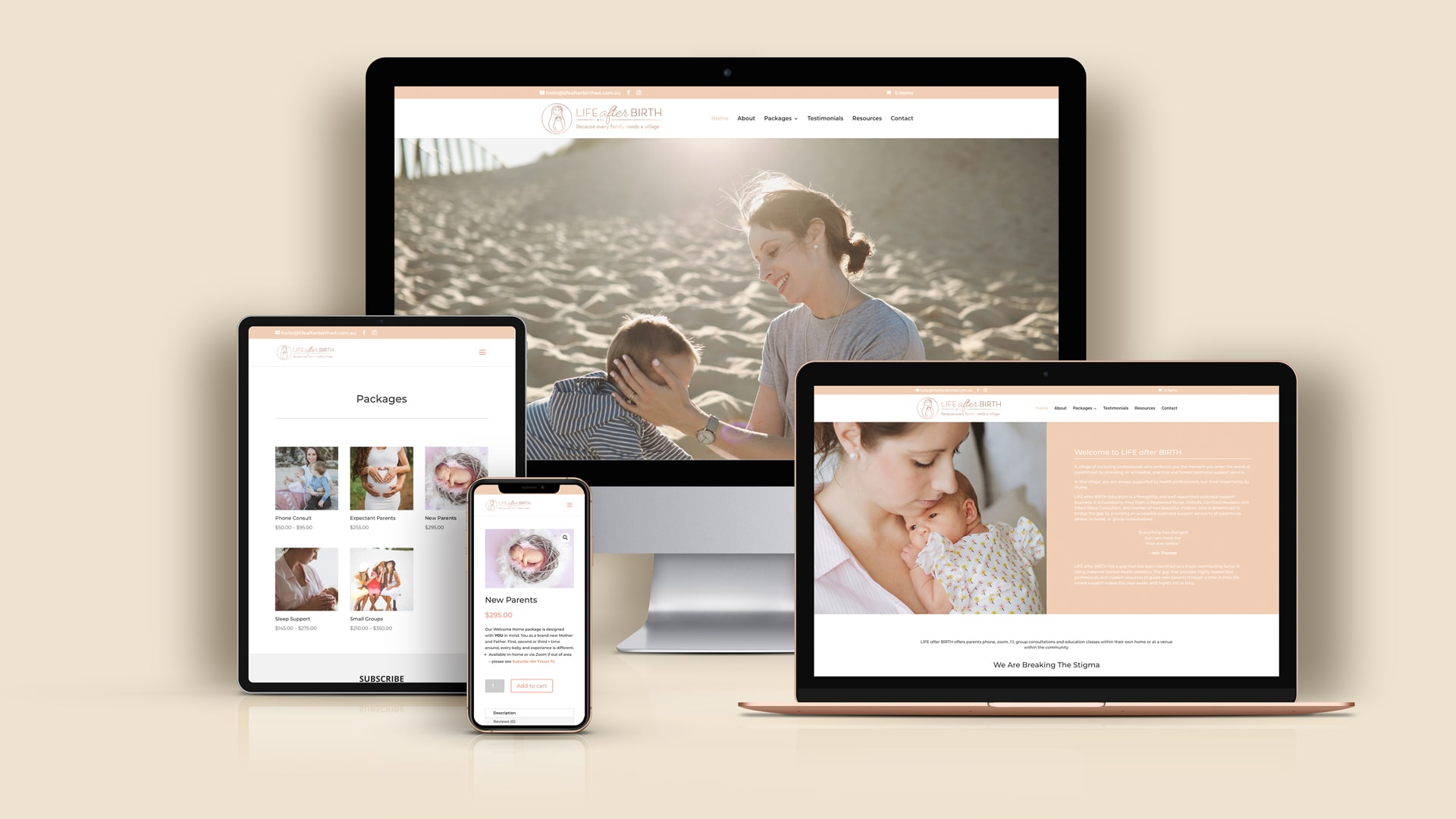 Lumina Design House Project : Life after Birth - eCommerce Website Design