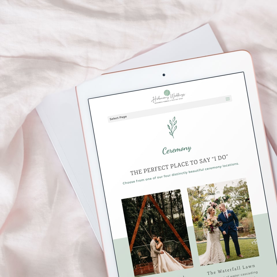 Lumina Design House Project : Hideaway Weddings - Website Design