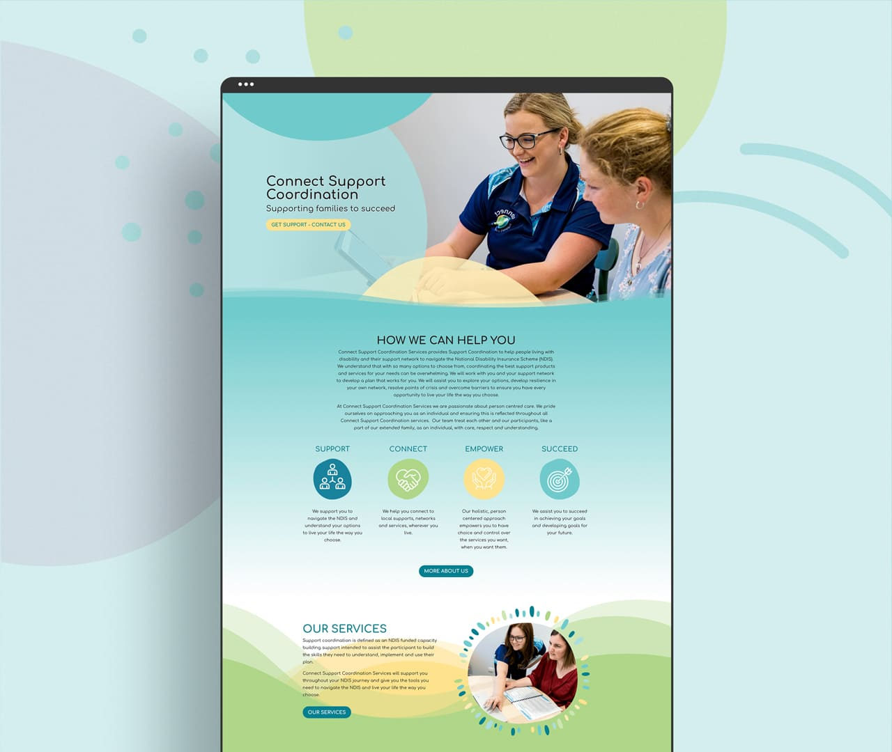 Lumina Design House Project : Connect Support Coordination - Website Design